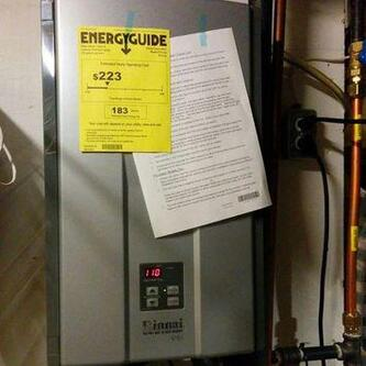Picture of a newly installed energy-efficient tankless water heater