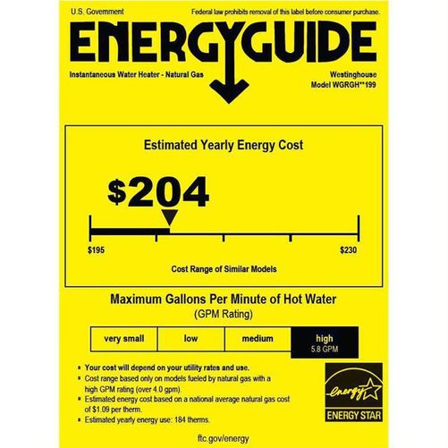 Picture of an Energy Guide sticker with the estimated yearly cost on it
