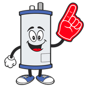 Picture of a water heater cartoon logo